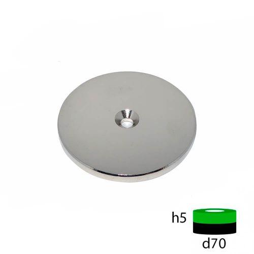 Неодимовый магнит диск 70х5 с зенковкой 5.5/10 мм