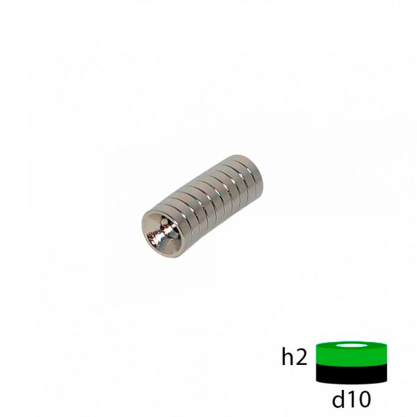 Неодимовый магнит диск 10х2 с зенковкой 3.5/7 мм.