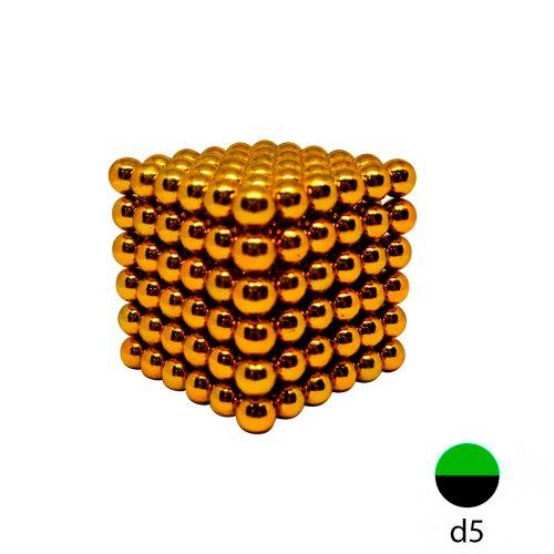 Неокуб золотой 5 мм.  (216 шариков)