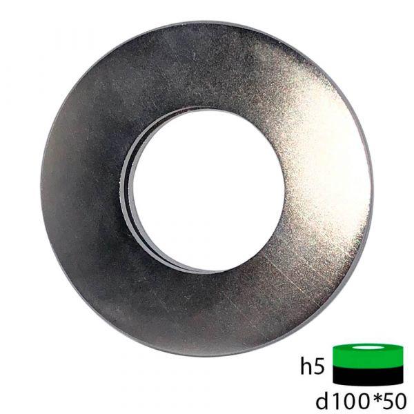 Неодимовый магнит кольцо 100х50х5 мм.