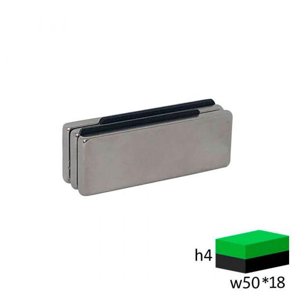 Неодимовый магнит прямоугольник 50х18х4 мм.