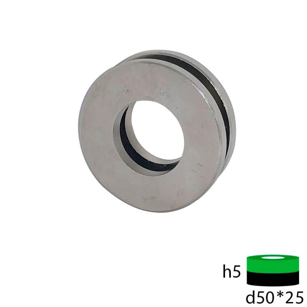 Неодимовый магнит кольцо 50х25х5 мм.