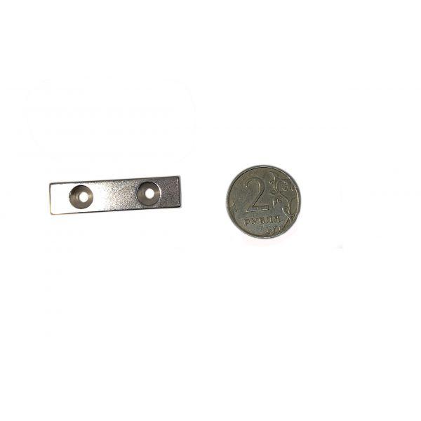 Неодимовый магнит 40х10х3 с отверстием с зенковкой 3,2/6,5 мм.