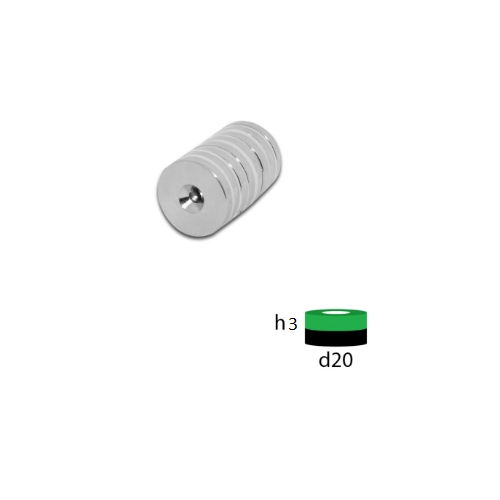 Неодимовый магнит диск 20х3 с зенковкой 3.5/7.5 мм.